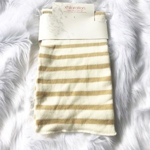 Xhilaration ivory and tan striped scarf nwt